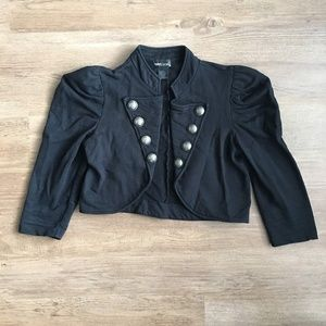 Cropped double breasted military blazer